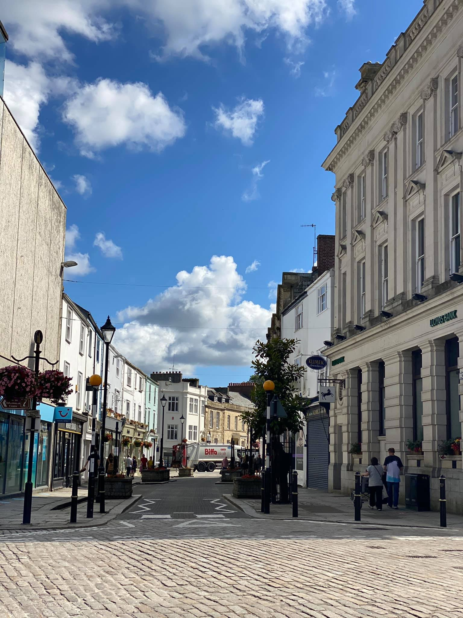 Truro highstreet, not many people in the photo.